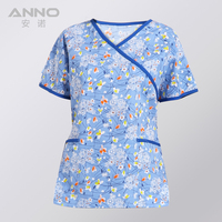 Free Shipping Short Sleeves Unisex Clinical Hospital Medical Uniforms Nurse Suit Dental Hygiene Clinic Scrubs TOP