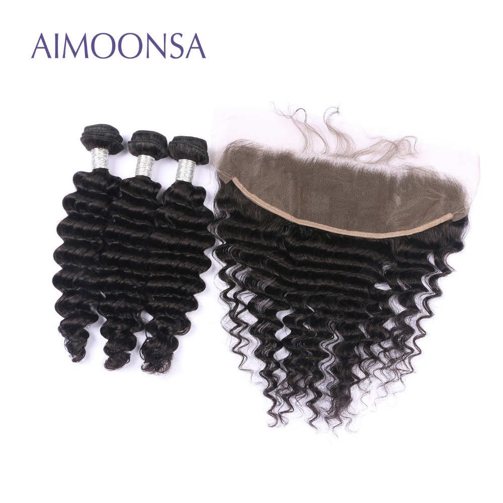 Deep Wave Human Hair Bundles with 13*4 Frontal Brazilian Human Hair Weave Remy Hair Extensions Lace Frontal Natural Color