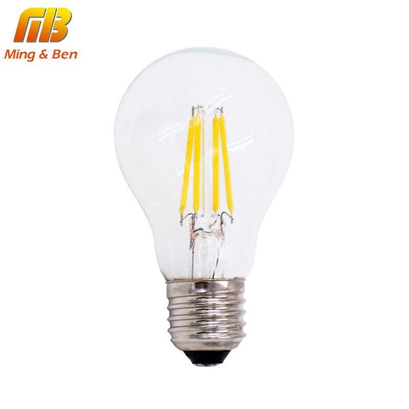 [Mingben] затемнения A60 светодиодных ламп накаливания E27 220 В 4 Вт 8 Вт <font><b>LED</b></font> edison удара шарика 360 градусов лампада Bombillas Ретро Лофт Стиль лампа
