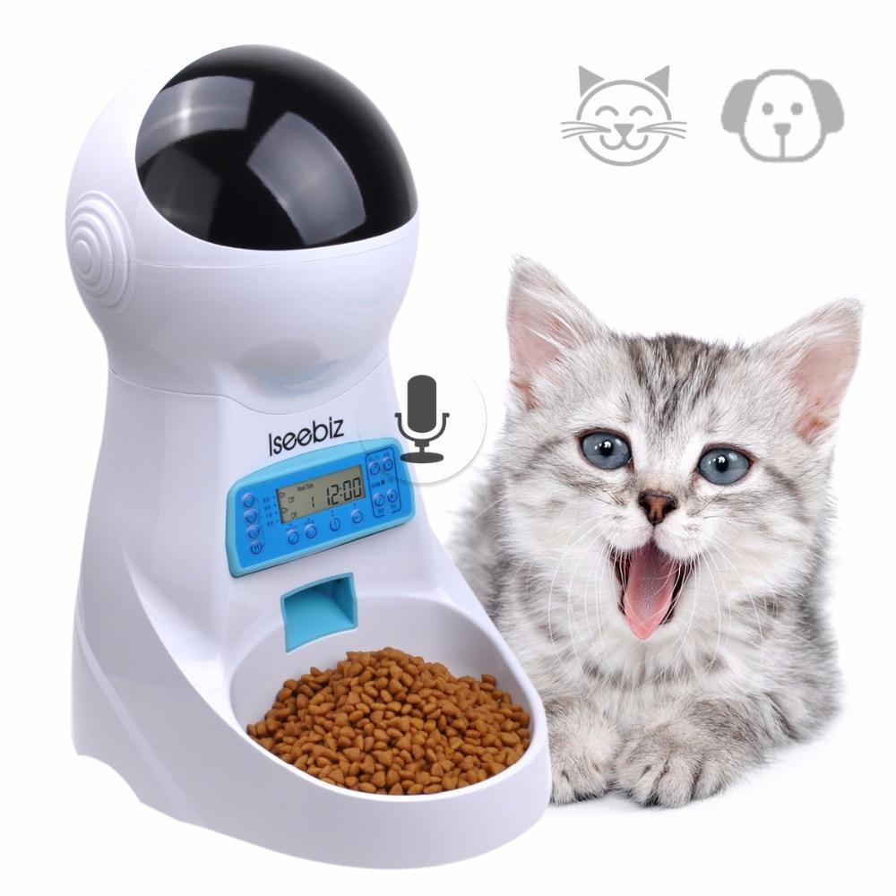 Iseebiz 3L bol automatique pour animal de compagnie Avec Enregistrement Vocal Animaux Bol alimentaire Pour Moyen Petit Chien Chat Écran LCD Distributeurs 4 fois par Jour