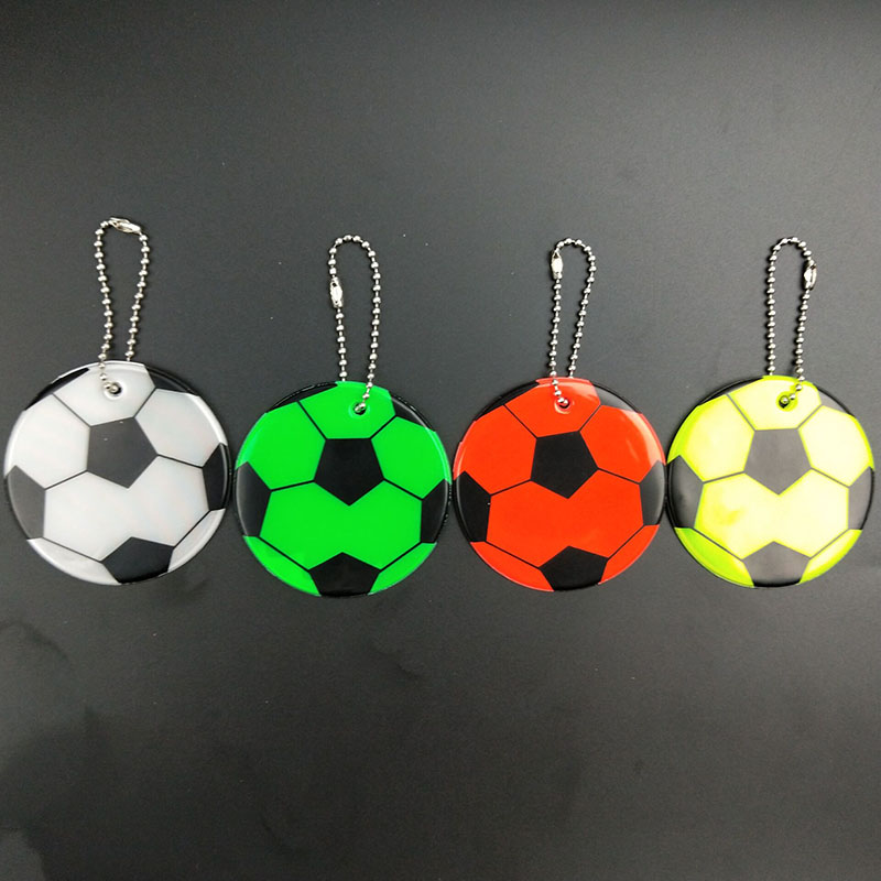 Football Model Soft PVC Reflective Keychain Bag Pendant Accessories High Visibility Keyrings For Traffic Visible Safety Use