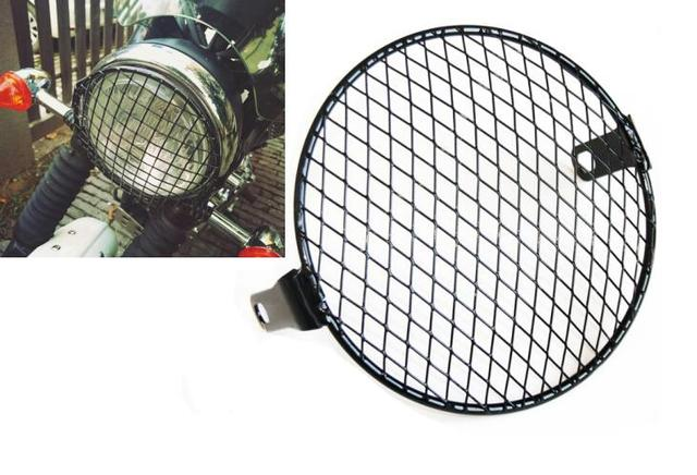 "6.3"" Retro Motorcycle grill Diamond Side Mount Headlight Cover Mask Cafe Racer"