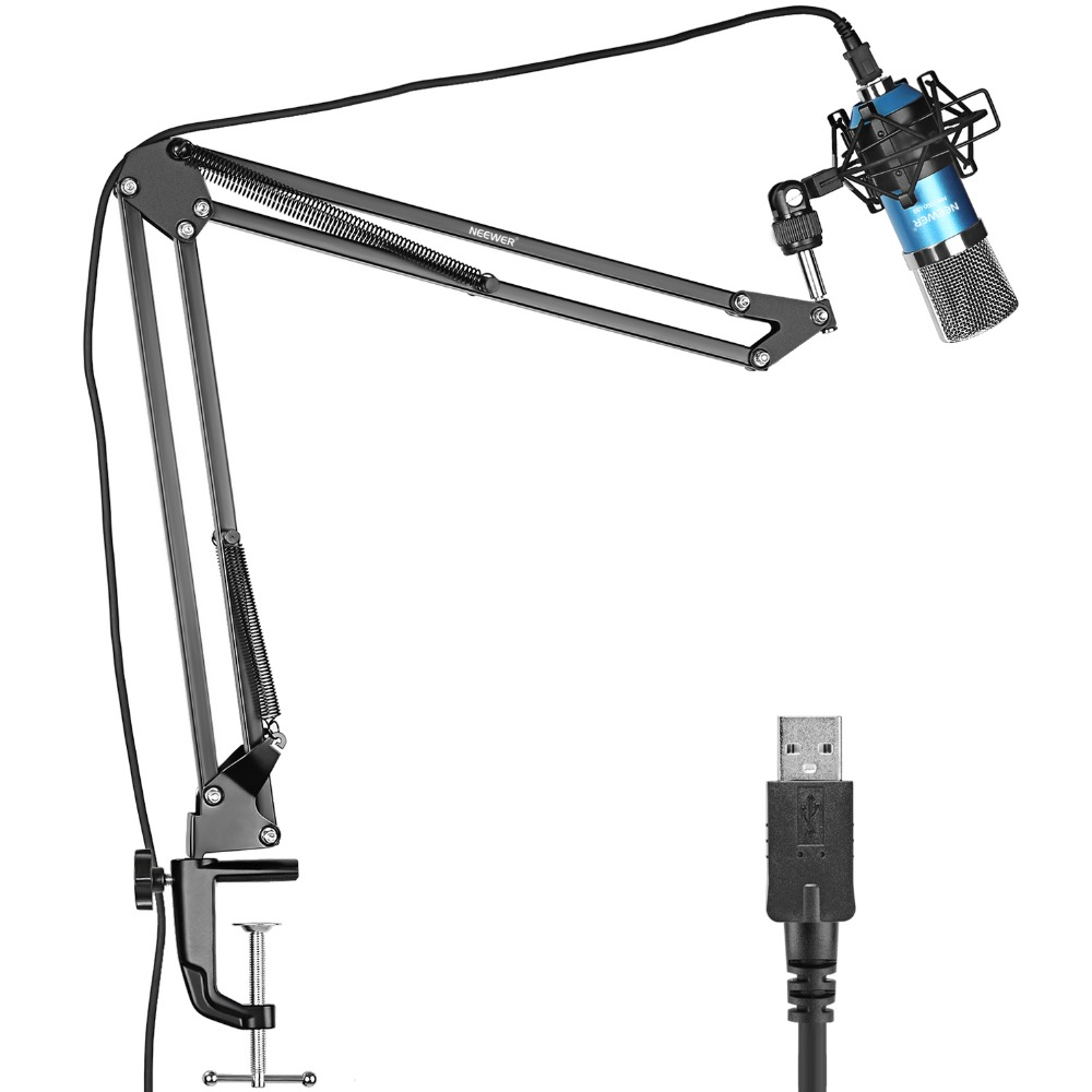 Neewer NW-7000 USB Professional Studio Condenser Microphone+NW-35 Adjustable Suspension Scissor Arm Stand with Shock Mount Blue