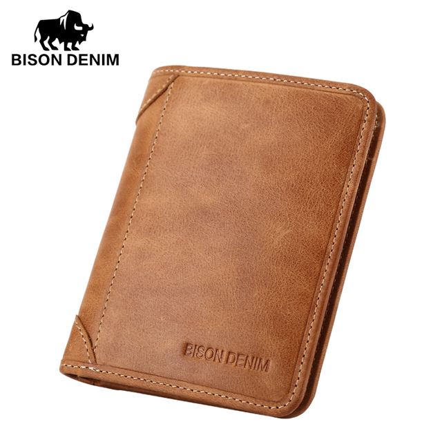 BISON DENIM Genuine Leather Wallet Vintage yellow Men's purse Cards Holder Soft Leather men purses Short Men Wallet N4361-2VS