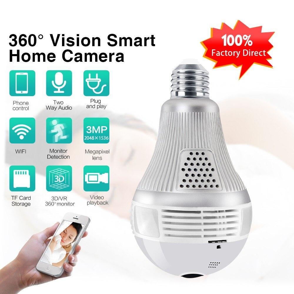 3MP 2MP 1.3MP Wireless IP Camera Bulb Light FishEye 360 Degree 3D VR Mini Panoramic Home CCTV Security IP Camera