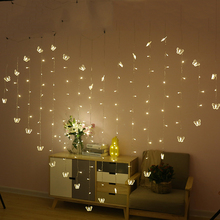 2M 128 LEDs LED Butterfly Icicle Lights Curtain Heart String Fairy Light Festival Birthday Christmas Decorative Lamps