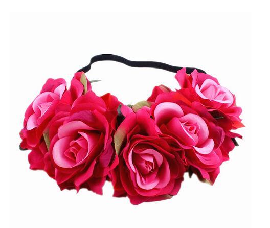 10pcs/lot free shipping Fashion Women Bride Headband Bohemian Style Rose Flower Crown Hairband Elastic Beach wreath