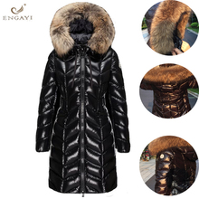 ENGAYI Down Jacket 2017 New Winter Fur Collar Coat Women Long Paragraph Thickening Slim Warm Hooded Down Coat For Female QW634