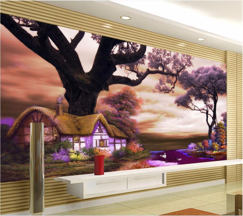 3d wall murals wallpaper for walls 3 d photo wallpaper Tree house river scenery decor picture Custom mural painting custom photo 3d ceiling murals wall paper blue sky rose flower dove room decor painting 3d wall murals wallpaper for walls 3 d