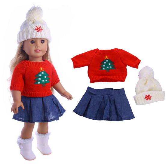 3 in 1 Red sweater cap jeans dress for Baby Born dolls Clothes fit 18 inch american girl doll Children best Birthday Gift american girl doll clothes for 18 inch dolls beautiful toy dresses outfit set fashion dolls clothes doll accessories