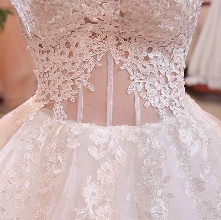 VENSANAC אשליה סירת צוואר תחרת אפליקציות כדור שמלת חתונת שמלות 2018 טול כבוי כתף ללא משענת כלה שמלות