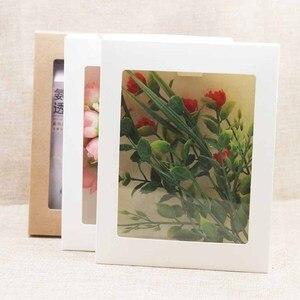Image 2 - 20 piezas caja de papel con ventana para manualidades, embalaje de pastel Blanco/Negro/Caja de Regalo de Papel kraft para boda, fiesta en casa envases para muffins