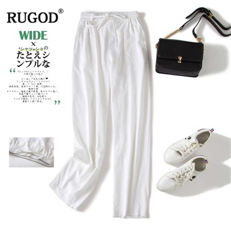 RUGOD 2019 ใหม่มาถึงผู้หญิงง่ายยาวตรงกางเกงผ้าฝ้ายและผ้าลินินนุ่มหลวมกางเกง Casual อ่อนโยนสไตล์ штаны