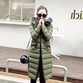 2016 nova jaqueta casaco de inverno vestido de manga longa Coreano no longo inverno de algodão acolchoado casaco fino Coreano