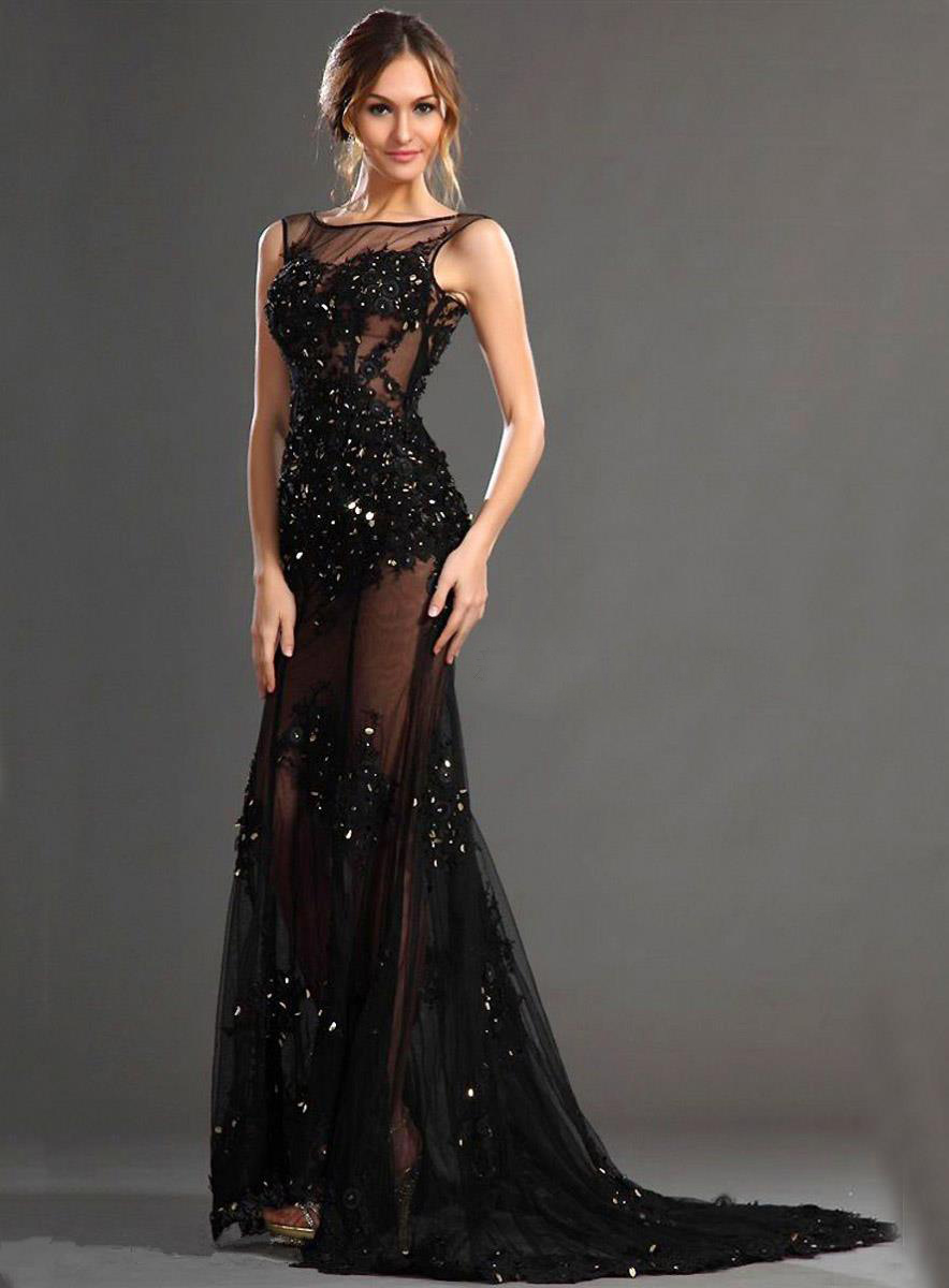 Black Lace Appliques Shiny Crystal Mermaid Evening Dress