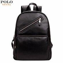 Vicuna polo negro estilo preppy hombres mochila marca mochila portátil de cuero moda unisex mochilas de la escuela secundaria para la universidad
