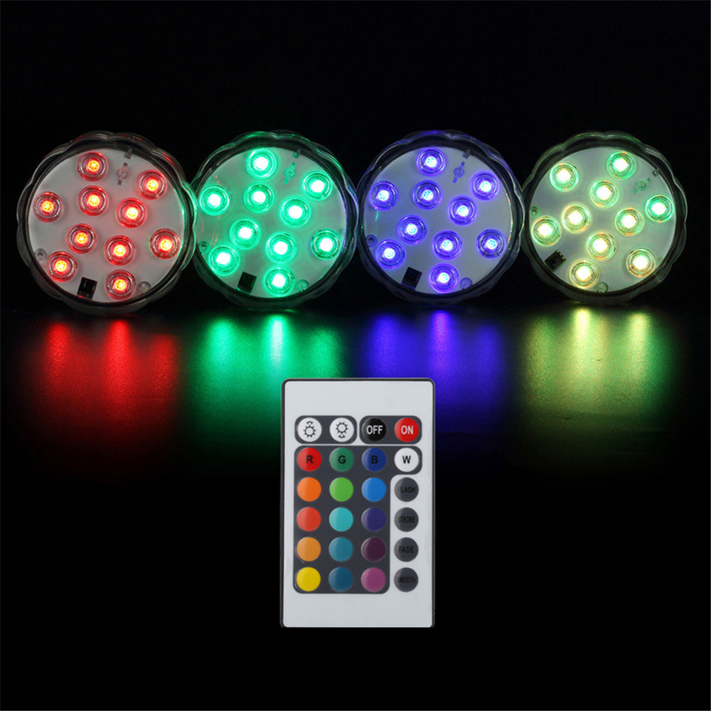 4pc 10-leds Underwater Lamp Ip68 Waterproof Multi Color Battery Operated Remote Control Lights For Hot Tub,pond,pool Lights & Lighting Led Lamps
