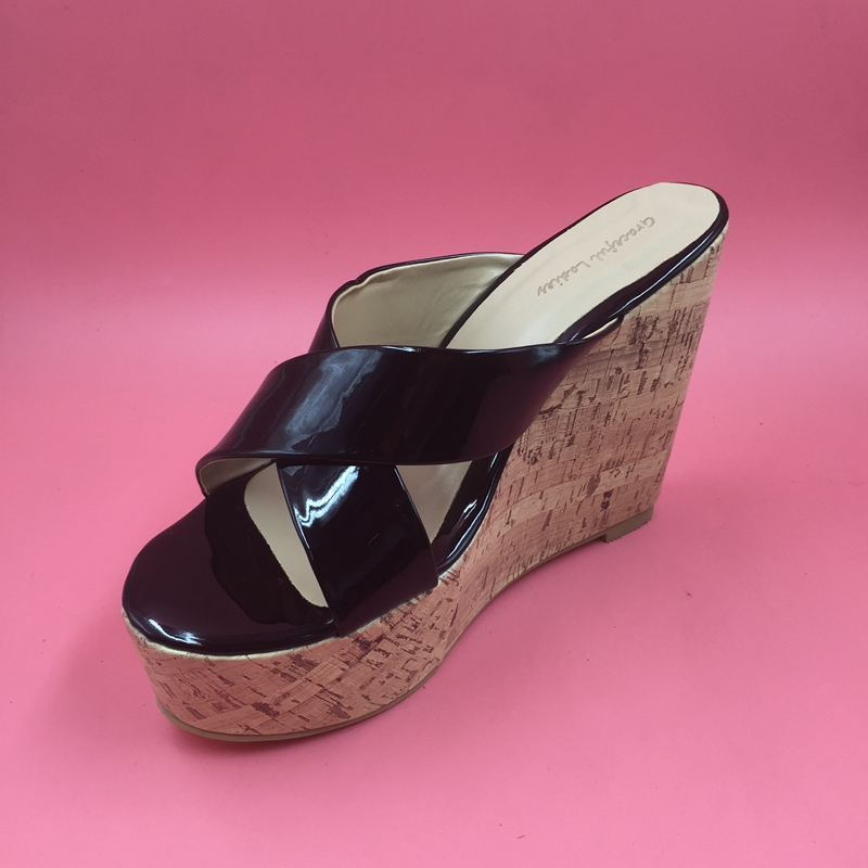 Black Cross-Tied Slides Wedge High Heels Open Toe Thick Platform Causal Sandal Women Size 15 Thick Heels Sexy Shoes Big Size