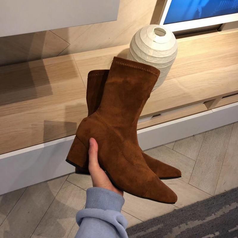 النقل المجاني نمط الشتاء أحذية النساء 2019 الأزياء لينة جلد طبيعي النساء الأحذية الربيع والخريف الجوارب الأحذية تمتد التمهيد-في أحذية منتصف ربلة الساق من أحذية على  مجموعة 3