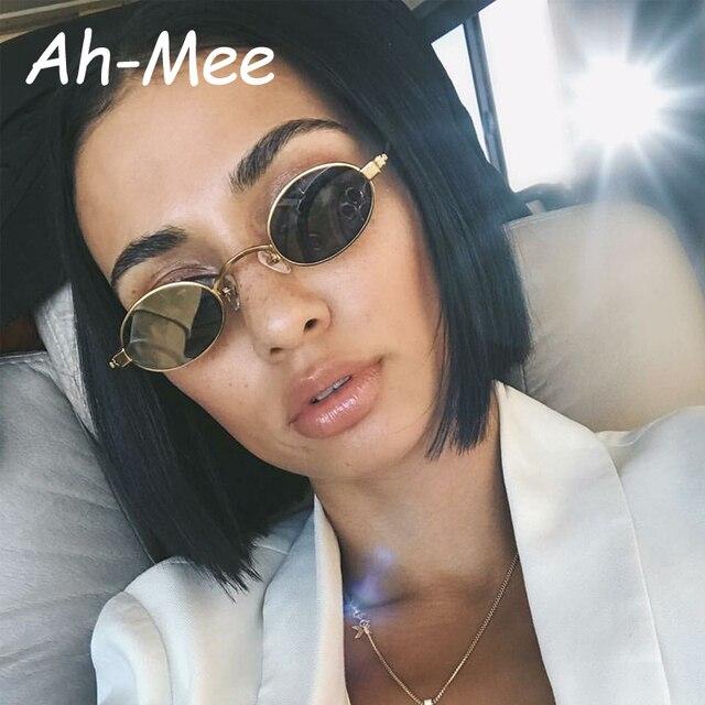 feaa16339 Retro Pequeno Oval óculos de Sol Para As Mulheres Unisex Metal Frame 2019  Lentes de óculos