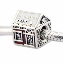 La casa de santa adapta pandora charms pulseras translúcido rojo esmalte de los granos para la joyería que hace 2016 de invierno regalos de navidad