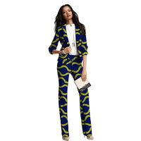 New Arrivals Fashion African print women blazers with trousers set clothing ladies pant suits custom dashiki suits for ladies