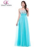 2015 Grace Karin V Neck Backless White Blue Sequins Beaded Long Formal Evening Dress Sleeveless Party