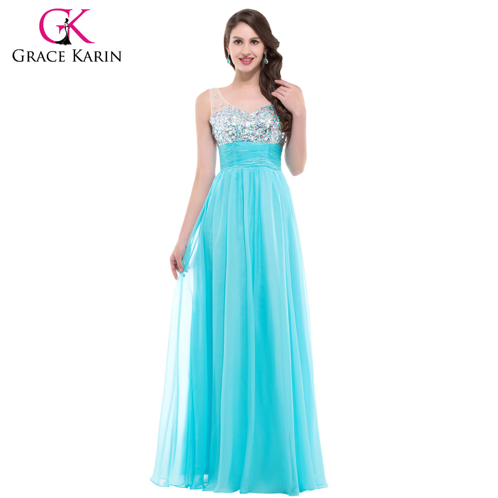 Grace Karin Sexy Backless Evening Dresses 2018 Women long White Formal  Dress Party Gowns Rhinestones Blue Evening Dress 7506 a1faeccb56f1