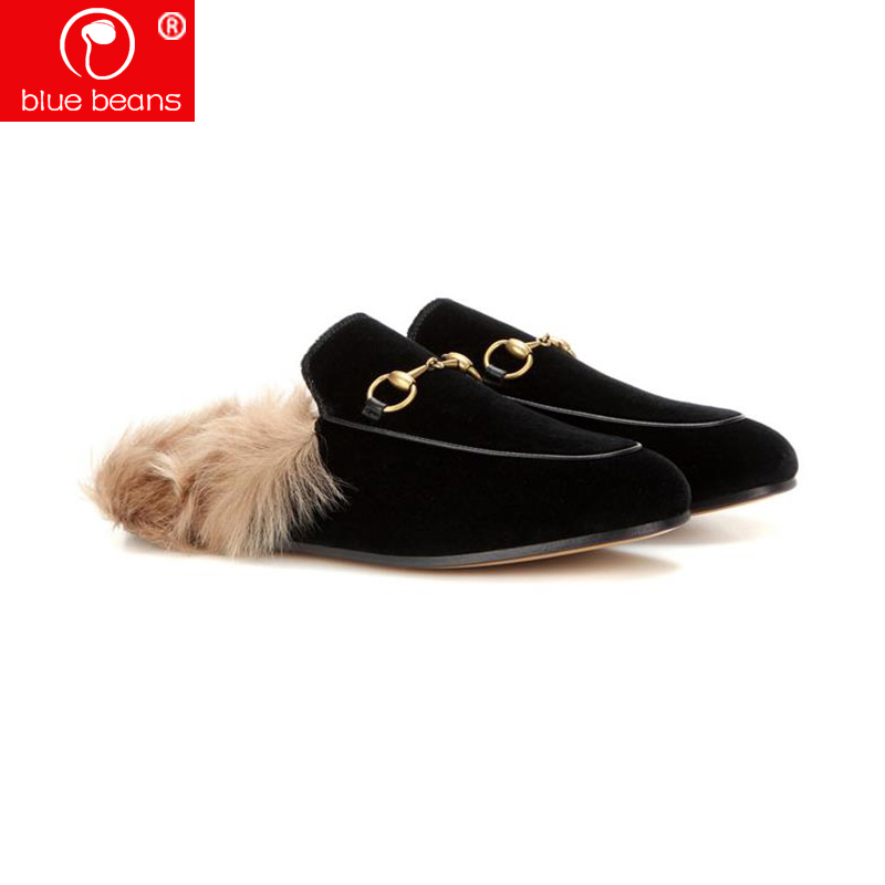 Princetown slippers lady winter Swan velvet slippers can worn outside fur Muller shoes velvet flat slippers