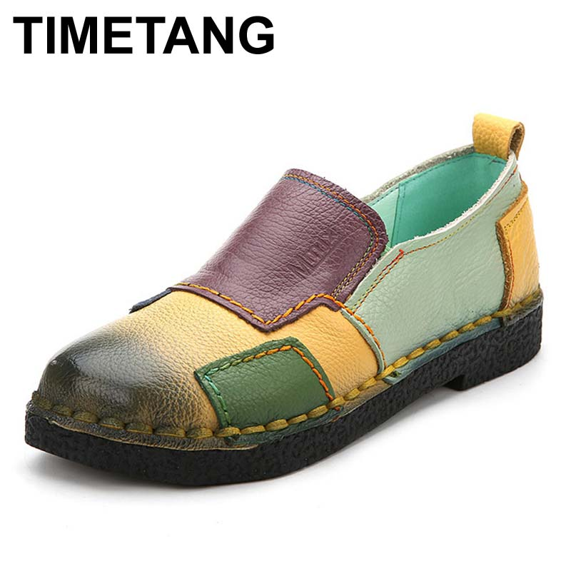TIMETANG Handmade vintage women's shoes genuine leather female moccasins loafers soft slip-resistant block casual shoes flats handmade vintage women shoes genuine leather female moccasins loafers soft comfortable casual shoes flats plus size 35 40