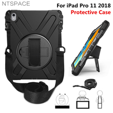 цены For New iPad Pro 11 2018 A1980 Tablet Kids Safe Shockproof Heavy Duty Silicone+PC Kickstand Tablet Case Wrist & Shoulder Strap