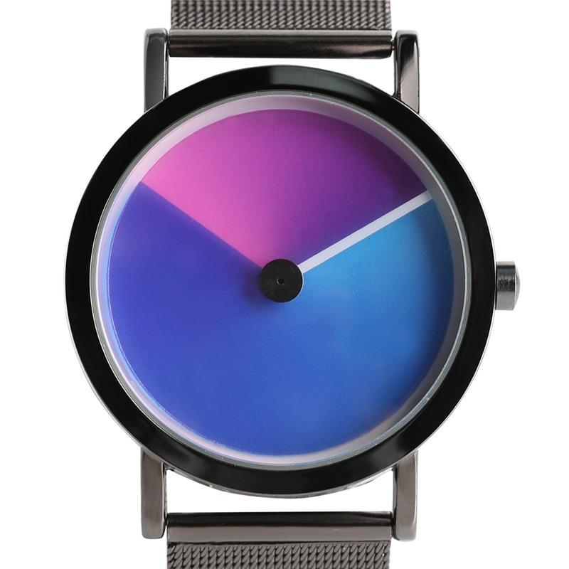 Geek Stylish Men Watch Creative Colorful Vortex Dial Stainless Steel Mesh Band Minimalist Spiral Quartz Wristwatch Sci-fi Clocks (4)