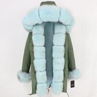 Бренд 2019 Длинные парки зимняя куртка Для женщин из натурального меха пальто натурального меха лисы бренд Fox Fur Trim капюшоном верхняя одежда в