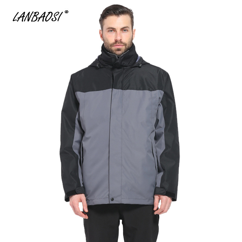 LANBAOSI hommes Sports coupe-vent imperméable extérieur vestes avec capuche thermique polaire doublure pour randonnée Camping escalade Ski manteau