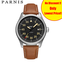 New Fashion 44mm Parnis Sport Watch Men Automatic Black Pvd Case Yellow Number Mechanical Watches