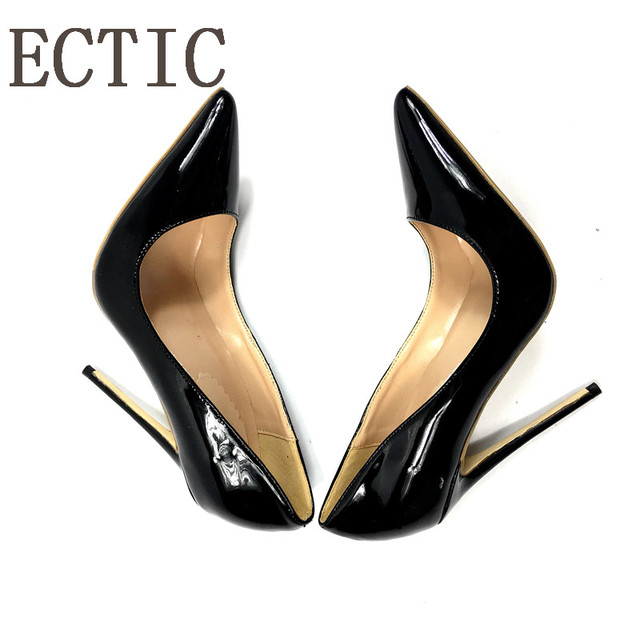 Brand Sexy Rivets Shiny Patent Leather High Heels Nude Pointed toe Pumps Shoes Party Shoes Women Stiletto High heel Pumps   4