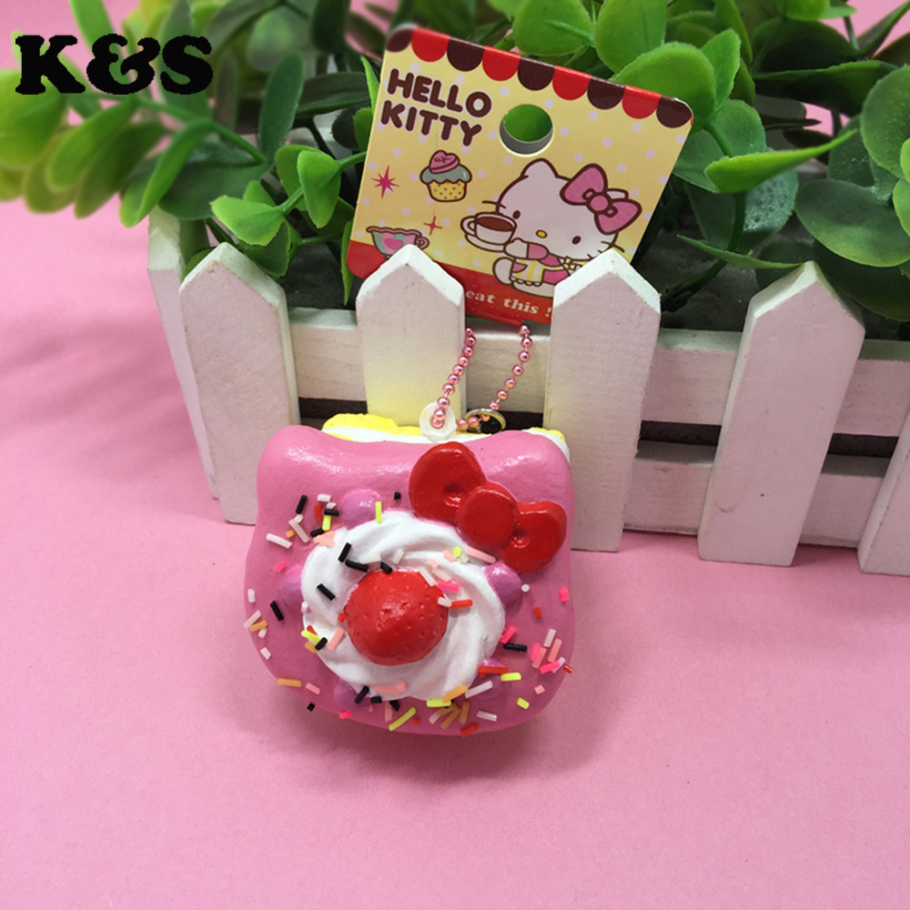 4Color 5cm original package rare hello kitty sweet cake squishy phone charm pink cell phohe Strap