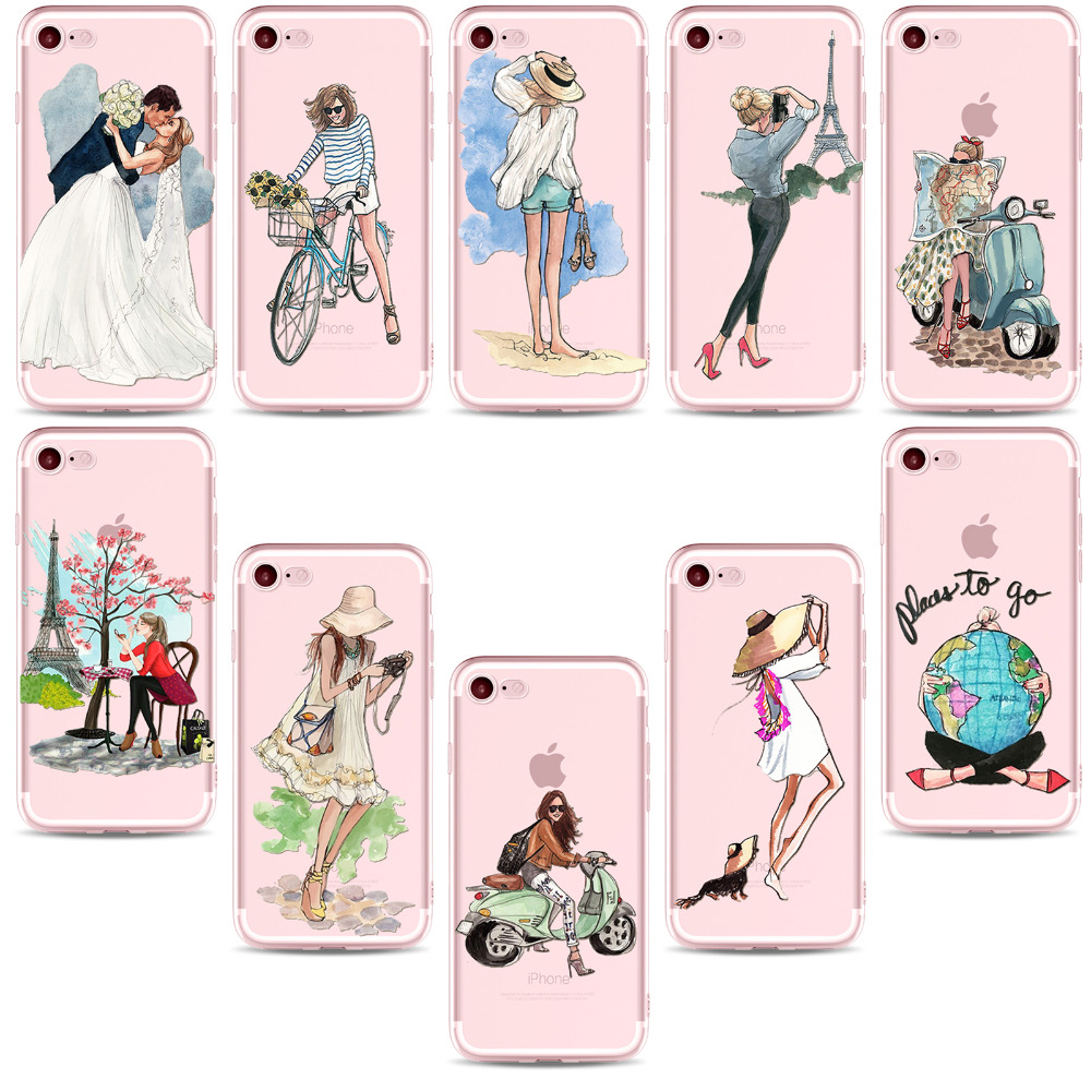 New Fashion Traveling Girls Design Phone Cases For iPhone 7 7plus Beautiful Bikini Girl Styles Cover Shell for iPhone 7 Case