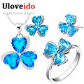 Uloveido Silver Plated Wedding Jewelry Set with Blue Stones Purple Zircon 3 Leaves Ring Pendant Chain Earrings for Women T289