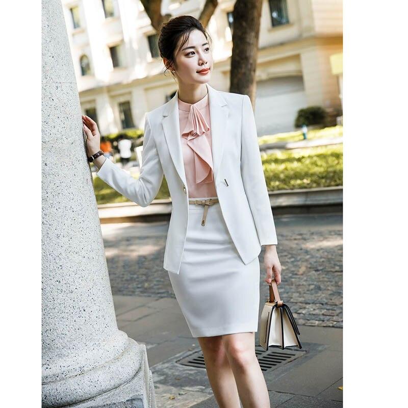 2018 mode Karriere-Frauen Zwei-stück Sets Business Büro Dame Anzüge Blazer + Elegante Rock Breite Hosen Bluse Formale kleidung