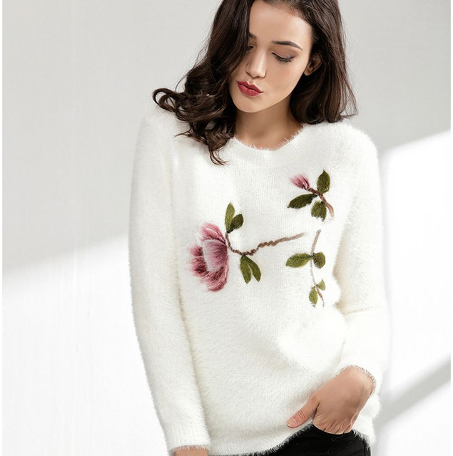 e93cccdd102 2018 winter plus size knitting floral embroidered fuzzy pullovers loose long  sleeve o neck mohair sweater casual pull femme tops