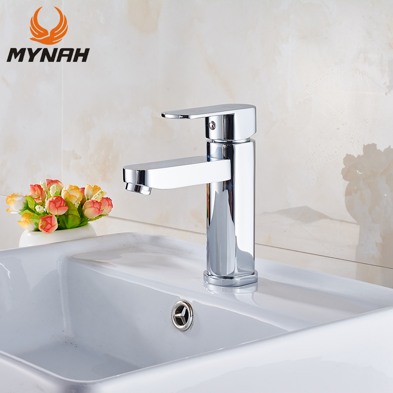 MYNAH Single Handle Single Hole bathroom Basin Faucet Polished Deck Mounted Cold and Hot Washbasin Mixer Tap