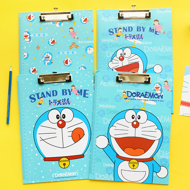 Cute A4 Doraemon Emoji Clipboards Ruler Stationery Store Clip Folder Board Desk File Dra ...