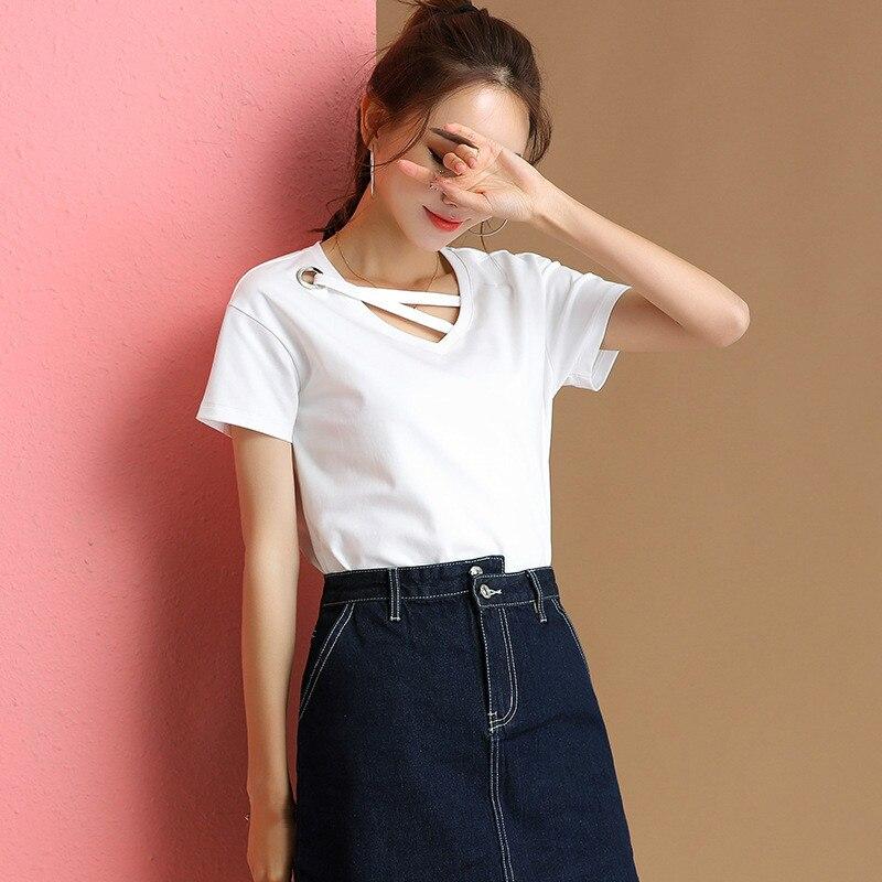 Summer Short Sleeve Oversized Plain T Shirt Femme Casual Women Sexy V Neck White Korean T-shirt Social Shirt Woman Tshirt Top