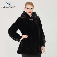 Athena Special Skirt Type Short Women Genuine Mink Fur From Canada NAFA Mink New Design Winter Real Natural Mink Fur Coats Hood(China)