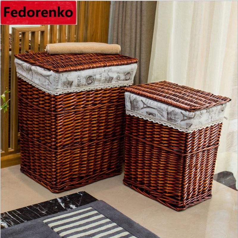 سلة الغسيل الكبيرة للملابس سلة الغسيل الخوص سلال التخزين الزخرفية صناديق cesta lavanderia panier rangement tissu