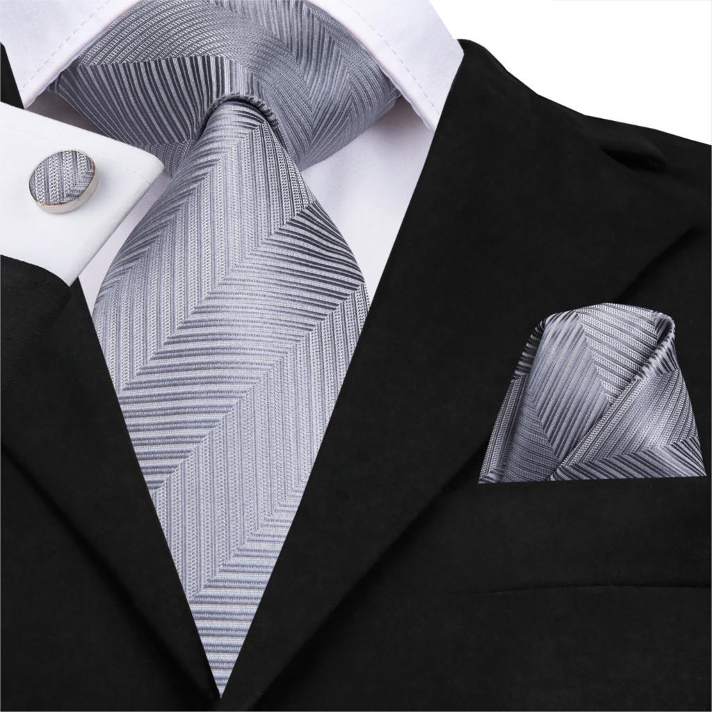 Men/'s Tie Cufflinks Pocket Square Set Wedding Jacquard Woven Silk Necktie