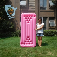 Pink Inflatable Beer Pong Table 24 22hole Inflatable Pool Float Air Mattress Swimming Pool Water Toys