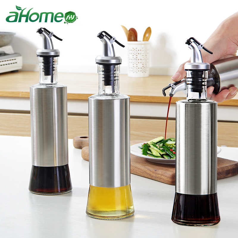 Stainless steel leakproof Oil Bottle seasoning jar soy sauce vinegar Spice wine seasoning bottle Kitchen  Storage Organizer