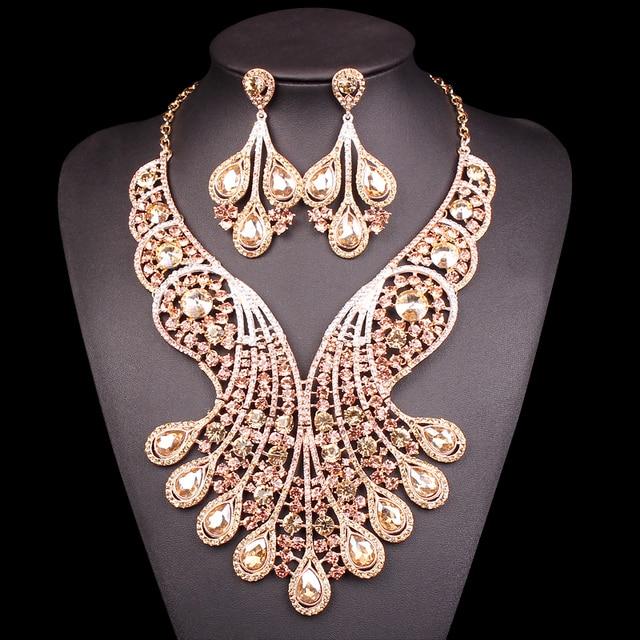 Big Crystal Bridal Jewelry Sets Wedding Costume Jewelry Indian